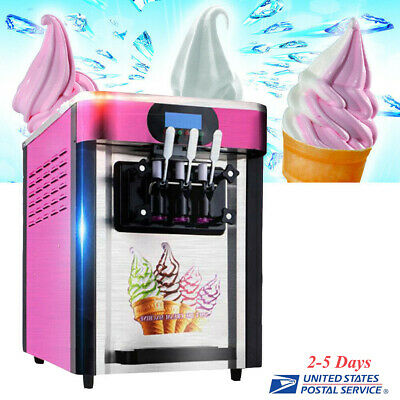 Frozen Soft Ice Cream Machine Mix Yogurt Flavor 110V 3 Flavors Ice Cream Maker