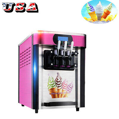 Soft Ice Cream Maker Frozen Yogurt Making Machine 110V 3-flavor 20L/H Commercial