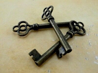 Old Vintage Style Open Barrel Skeleton Key -Antique Brass Color - Lot of 3 (New)