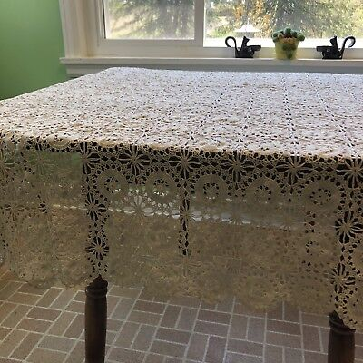 "VTG Hand CROTCHED Light Beige/Off-White Tablecloth Bedspread Coverlet 54"" X 65"""