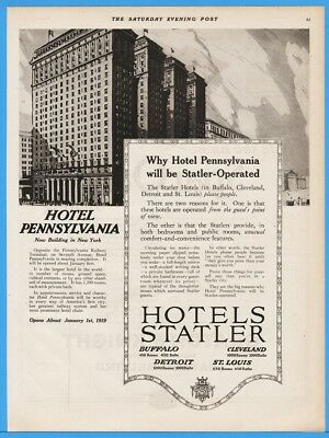 1918 Hotel Pennsylvania NY Statler Hotels New Construction Vintage Magazine Ad