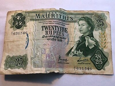 MAURITIUS-25 RUPEES-1967-P.32a-A/3 VERY SCARCE Date- No Reserve !!