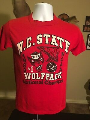 VTG 1983 North Carolina Wolfpack 80s College Basketball Champs T shirt XS