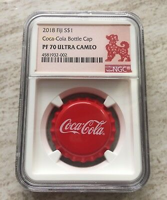 NGC PF70 2018 Fiji Coca-Cola Bottle Cap $1 6g Silver Proof Coin Red Dog Label