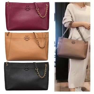 ba4d60fc4 Authentic Tory Burch Mcgraw Chain-Shoulder Slouchy Tote Women Shoulder Bag  NWT