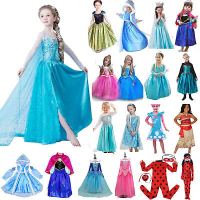 Girl Princess Anna Elsa Ladybug Cosplay Fancy Dress Frozen Kid Costume Party Lot