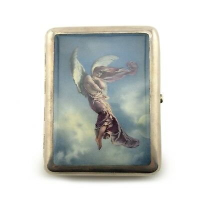Russian Silver & En Plein Enamel Cigarette Case Zichy after Lermontov's Demon