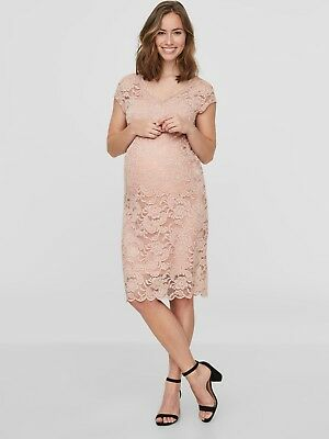 Maternity Dress Size 12 Lace Special Occasion Pale Pink Party Wedding £40 RRP