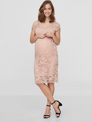 Maternity Dress Size 14 Lace Special Occasion Pale Pink Party Wedding £40 RRP