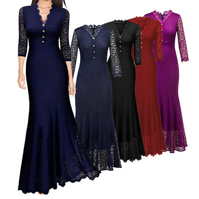 Women Maxi Fishtail Dress Long Formal Evening Party Wedding Vintage Lace Gown