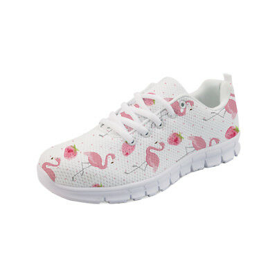Women Breath Running Shoes Pink Flamingo Print Lace Up Trainers Mesh Upper Shoes