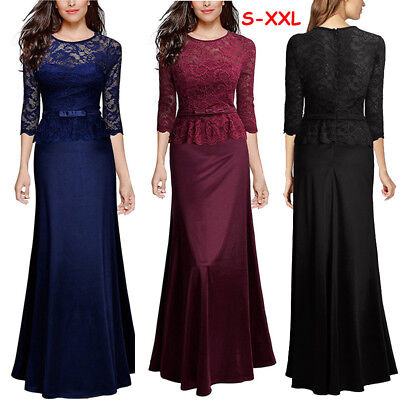 Women Long Maxi Lace Dress Summer Evening Formal Party Prom Bridesmaid Ball Gown