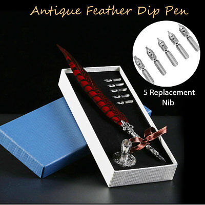 Antique Calligraphy Quill Feather Dip Pen Writing Set + Pen Rack Gift Box 5 Tips