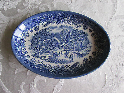 Blue And White Churchill Small Oval Plate Skating Scene 21 X 15Cm England