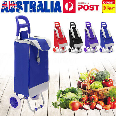 Foldable Shopping Cart Carts Trolley Bag Basket Luggage Wheels Oxford Floding
