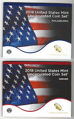 USA: United States Mint Uncirculated Coin Set 2018, 2x 2,91 Dollar, Mint D + P