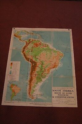 *Vintage Linen School Map of South America. Relief of Land and Communications.