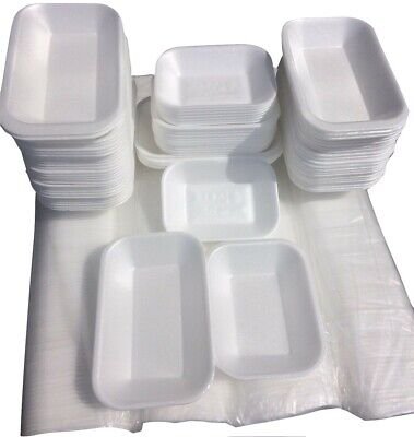 """Multiple Size """"POLYSTYRENE WHITE CHIP TRAY""""Disposable Takeaway Foam Tray CT1,2,3"""