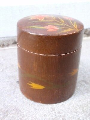 Vintage Brown Laquer Wood Chinese Japanese Flower Decoration Desk Trinket Box