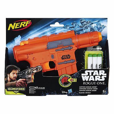 STAR WARS: Rogue One Captain Cassian Andor NERF Blaster With Glow Darts  - BNIB