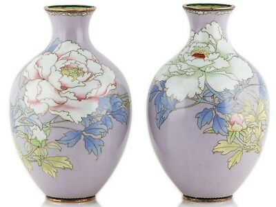 Unusual Pair Japanese Lilac Silver Wire Cloisonné Vases Peonies