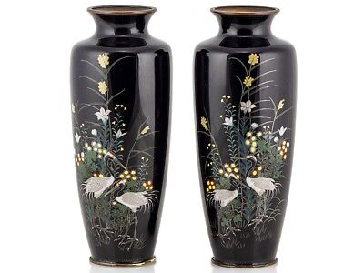 Large Japanese Nagoya Silver Wire Pair Cloisonné Crane Vases