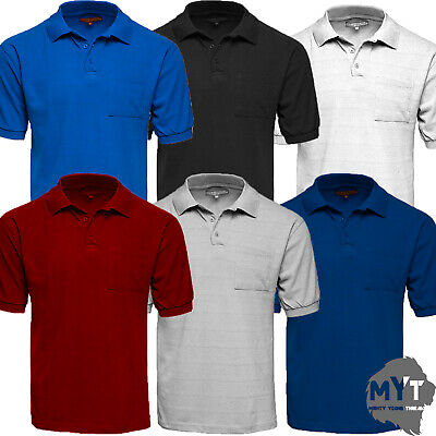 New Mens Polo Charles Norton Collar Plain Cotton Pique Ribbed T- Shirt Casual