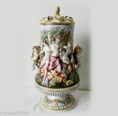 CapodimonteTALL urn with cherub handles, nudes and lion finial lid