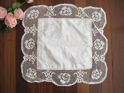Hand Rose Embroidery Hemstitch Filet Lace Cotton White Topper Satchel CL