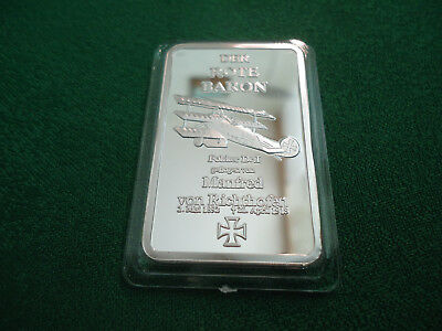 "Silberbarren Medaille ""Der Rote Baron"" 1 oz plated P.P."