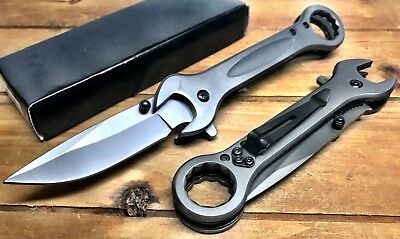 "7.5"" MULTI-TOOL WRENCH TACTICAL SPRING ASSISTED OPEN FOLDING POCKET KNIFE Gray"