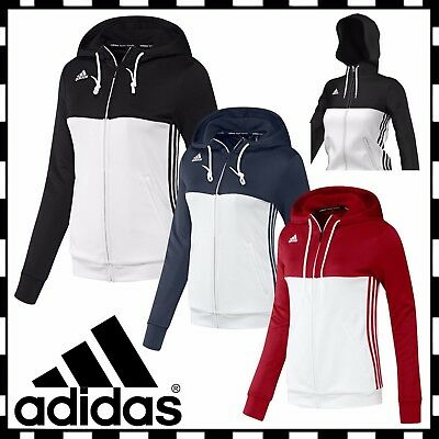 New Adidas T16 Teamwear Womens Hooded Full Zip Training Sweat Jacket Top Hoodie
