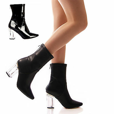 24ea8cf31e2 S343 - Ladies Perspex Clear Block Heeled Round Toe Ankle Boots - UK 3 - 8