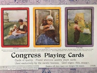 Antique 1903 US Company Congress Playing Cards Color Print Ad