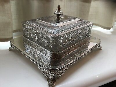 Superb Antique Victorian W.f.terry Silver Plated And Glass Sardine/butter Dish