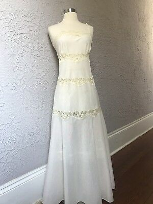 70's Vintage Lily of France Lace Cotton Voile Nightgown small floor length