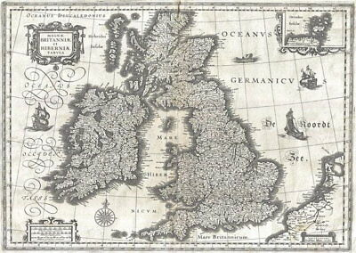84007 Vintage Old Map Of The British Isles Britain Decor WALL PRINT POSTER UK