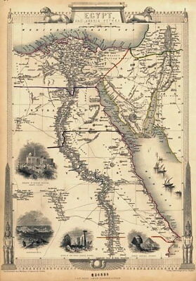 84152 Vintage Old Historical Map Of Egypt The Nile Decor WALL PRINT POSTER UK