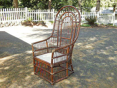 Vtg mid century rattan bamboo peacock side accent high back wicker chair local