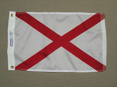 "Alabama 1895 State Indoor Outdoor Dyed Nylon Boat Flag Grommets 12"" X 18"""