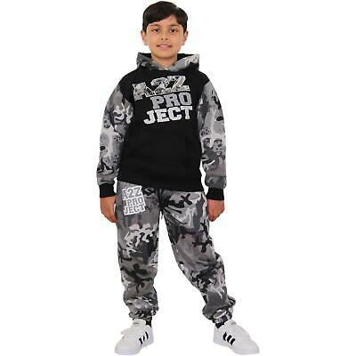 Girls Tracksuit Kids A2Z Camouflage Charcoal Top & Bottom Jogging Suit 5-13 Year