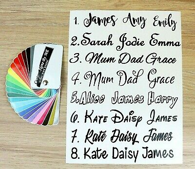 2x Personalised Sticker Name or Text Custom Lettering Vinyl Decal Adhesive Black