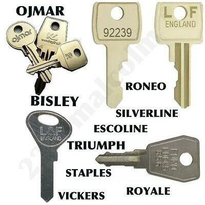 Filing cabinet keys cut to code number BISLEY TRIUMPH SILVERLINE STAPLES