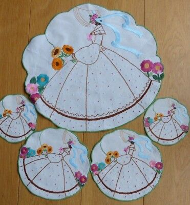 Vintage Hand Embroidered Detailed  Crinoline Lady Place Mats X 5