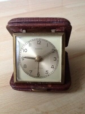 Vintage Europa Travel Clock.2Jewels/Alarm.Silk lined Leather Case.