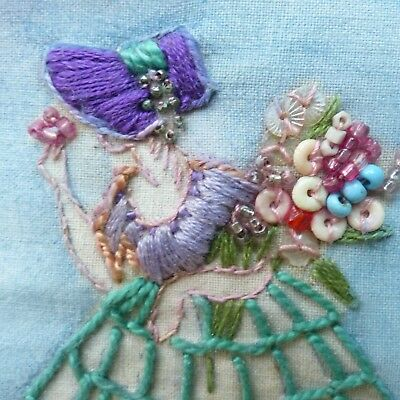 Vintage Embroidered Beaded Sequined Painted '3D'  Crinoline Lady Picture