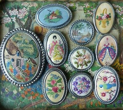 10 Embroidered Brooches 2 Crinoline Lady Bird Painted Framed Cottage Flowers
