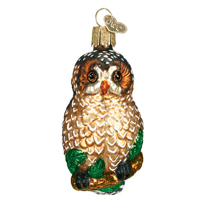 """""""Spotted Owl"""" (16052)X Old World Christmas Glass Ornament w/OWC Box"""