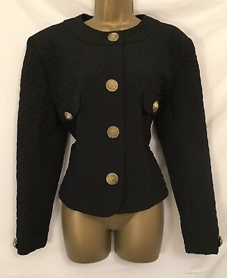 Gina Bacconi Size 16 Vintage 80s Fab Quilted Jacket with Big Buttons 2646