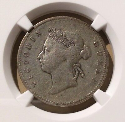 1893 Hong Kong 50 Cents NGC VF DETAILS REV SCRATCHED - Silver